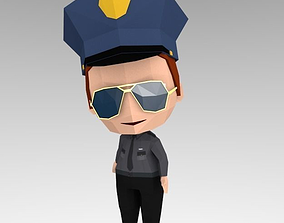 Security 3D asset rigged
