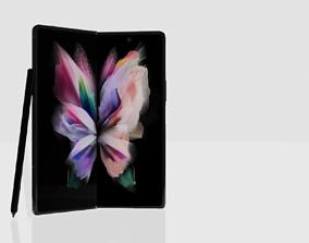 rigged Samsung Galaxy Z Fold 3 Black FREE 3D