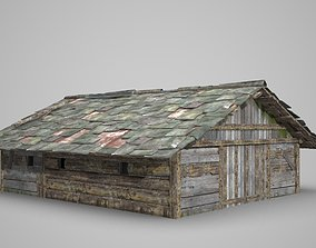 3D model A dilapidated wooden house