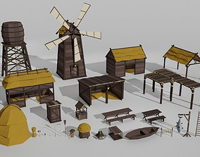 3D model Low poly outbuildings and props pack