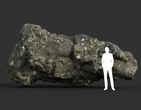 3D asset Low poly Damaged Lichen Rock 11 190907