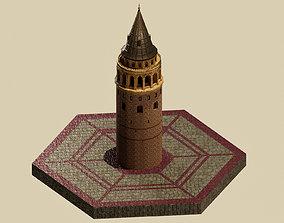 Stylized Galata Towers 3D model