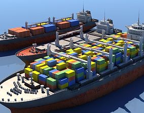 Cargo Vessel Collection 3D model