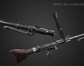 3D model MG34 WWII Machine Gun Videogame Asset