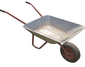 Game-ready Wheelbarrow dirty - Unity - HDRP - UE4 3D asset