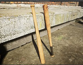 3D asset low-poly Baseball bat baseball