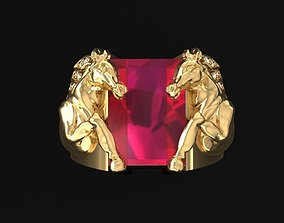 amethyst 3D Golden Double Horses Ring