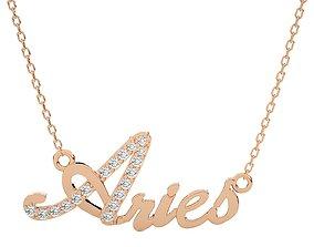 Aries Zodiac Pendant Necklace 3dm stl render detail