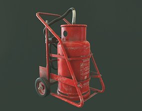 Trolley Fire Extinguisher 3D model