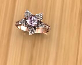 Flower Pink Gold Ring 3D Model