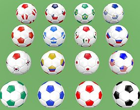 3D Soccer football balls flags of the world except Europe
