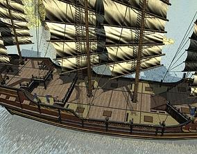 Treasure ship Ancient Chinese sailing warships 3D model