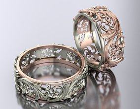 openwork wedding rings 3D print model cad