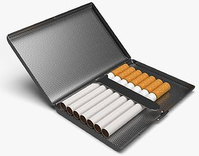 3D Cigarette metal case box 02 open