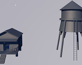 3D model Small cottage is water tank