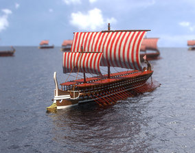 Trireme Greek Warship 3D model