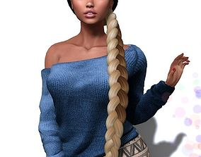 rigged VR / AR ready Female hair style rigged 3D model