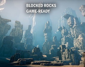 Blocked rocks 3D asset