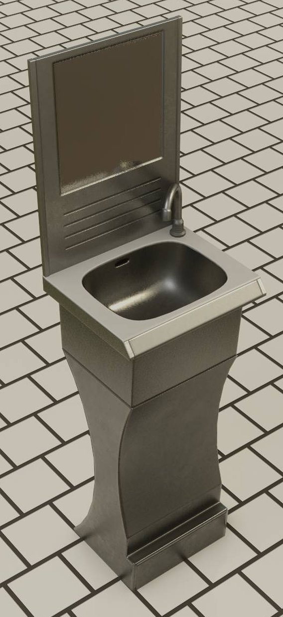 Public Metal Sci-Fi Sink - 40 - with Mirror Low-poly
