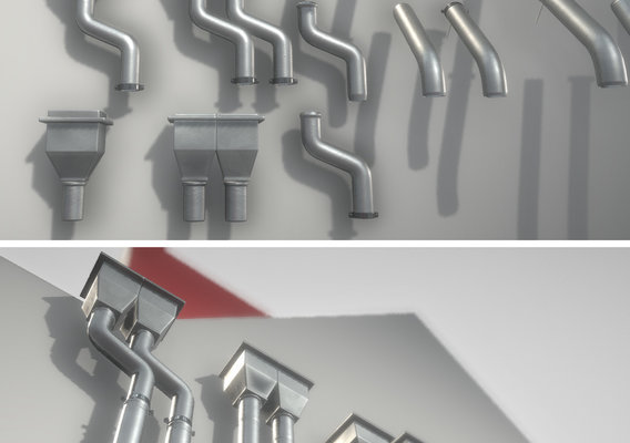 Modular Roof Gutter Pipe construction kit Low-Poly Version