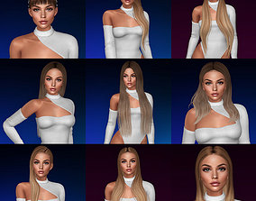3d mesh hair PACK 01 - 9 hairstyles rigged