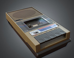 3D asset VR / AR ready Tape Recorder 80s