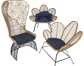 Wooden garden chair 3D model