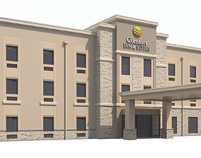 3D Commercial Building-026 Comfort Inn and Suites Hotel