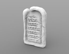 Flat Weathered Tombstone 3D printable model