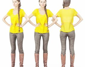 3D asset Yellow Top and Leather Boots Girl