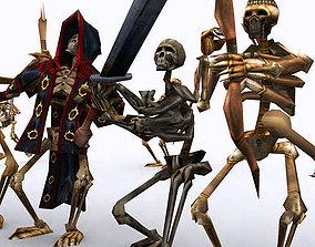 3D asset animated Skeletons swarm pack