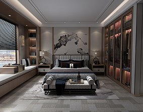 Bedroom with Closet Full of Clothes and Big 3D model 1