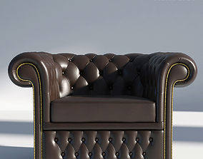arm Chesterfield Armchair Brown 3D model