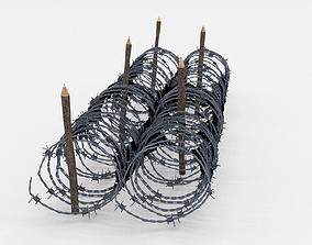 3D asset Low Poly Barb Wire Obstacle