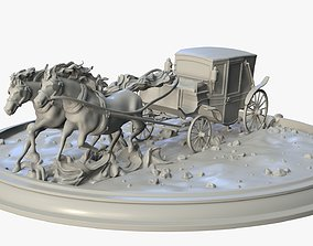 3D print model Running Horses with Carriage retro