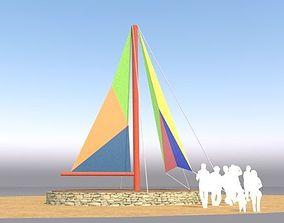 3D model Beach terrace deck
