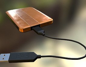 3D model External HDD With USB Cable Rigged Copper