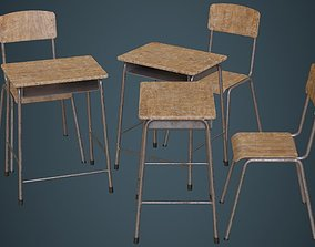 3D model School Desk And Chair 1B