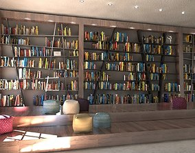 3D wooden school library books