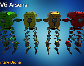 3D model game-ready Military Drone