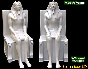 3D asset game-ready Egyptian Statue Khafre
