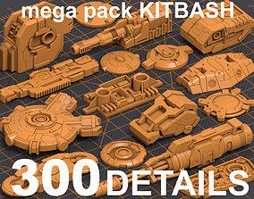 3D Mega Pack Hard Surface Kitbash 300 DETAILS