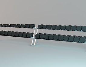 Dumbbell Racks with 40 Dumbbells - 5 to 65 Kg - Gym 3D