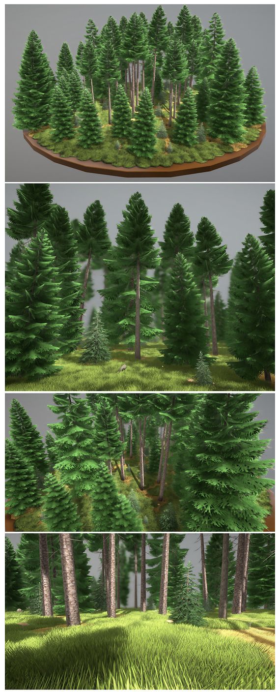 Low-Poly Spruce Forest