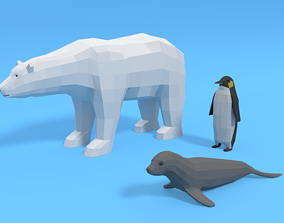 Low Poly Polar Animals Pack 3D