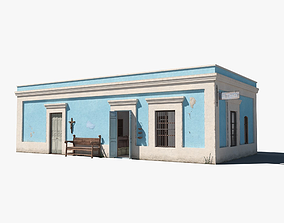 3D asset low-poly Mexican store with interior