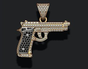 Gun pendant with diamonds 3D print model