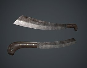 3D asset Long Machete Knife PBR Game Ready