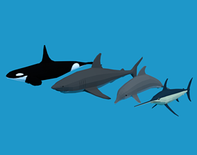 3D model Low Poly Fish Collection