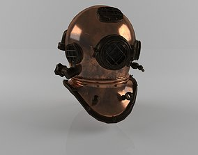 Old Diving Helmet LowPoly PBR 3D asset